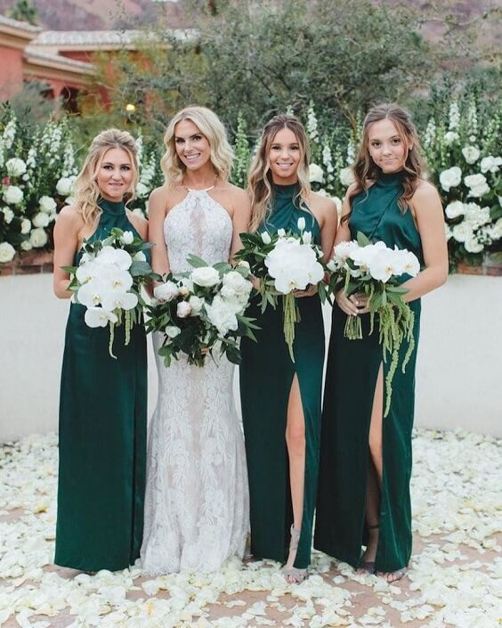 Fall Wedding Dark Green Bridesmaid Dresses And White Bouquets