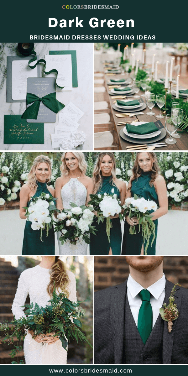 Fall Wedding - Dark Green Bridesmaid Dresses and White Bouquets with Greenery