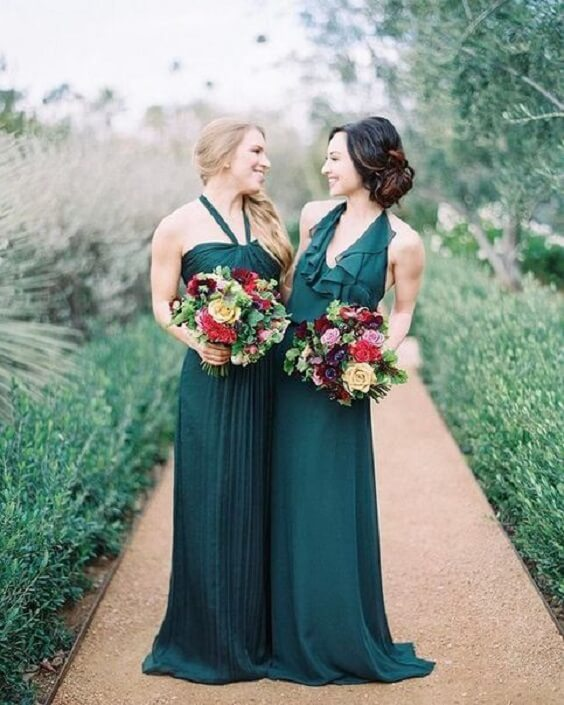 Bridesmaid dresses for Emerald Green and Blue Fall wedding