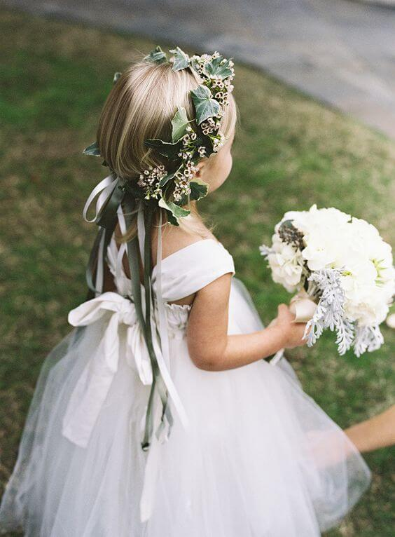 Flower girl for Emerald Green and Blue Fall wedding