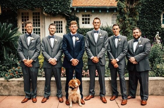 Groom and Groomsmen for Emerald Green and Blue Fall wedding