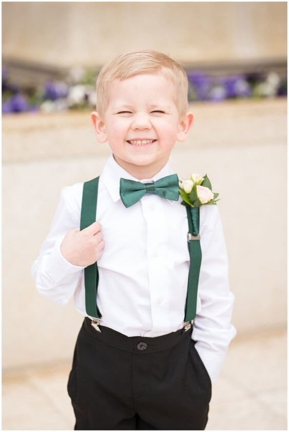 Ring Bearer for Emerald Green and Blue Fall wedding