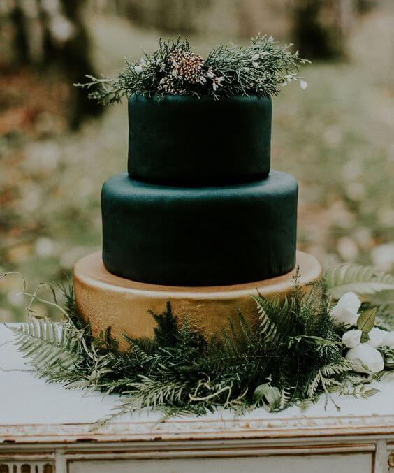 Wedding cake for Emerald Green and Blue Fall wedding