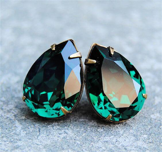 Wedding earrings for Emerald Green and Blue Fall wedding