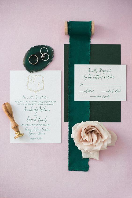 Wedding invitations for Emerald Green and Blue Fall wedding