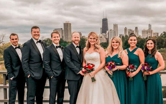 Wedding Party for Emerald Green and Blue Fall wedding