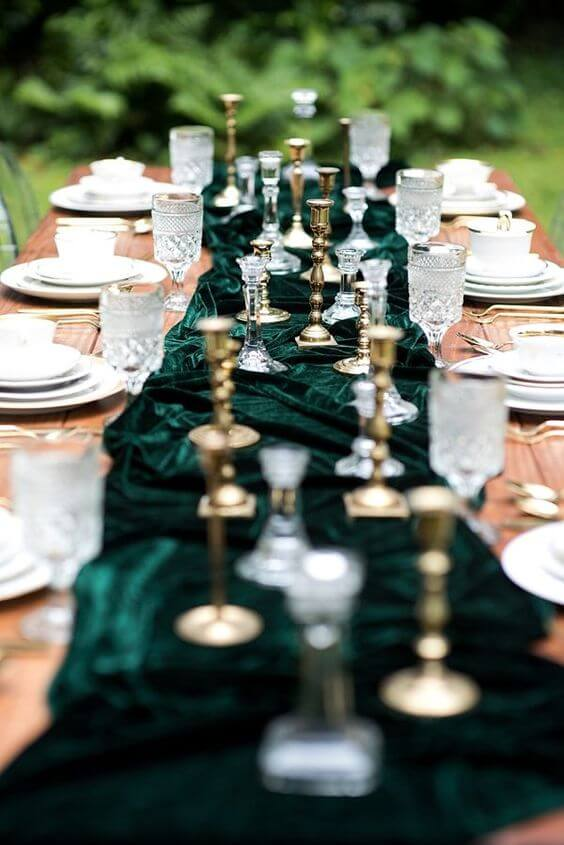 Wedding Table Decorations for Emerald Green and Blue Fall wedding