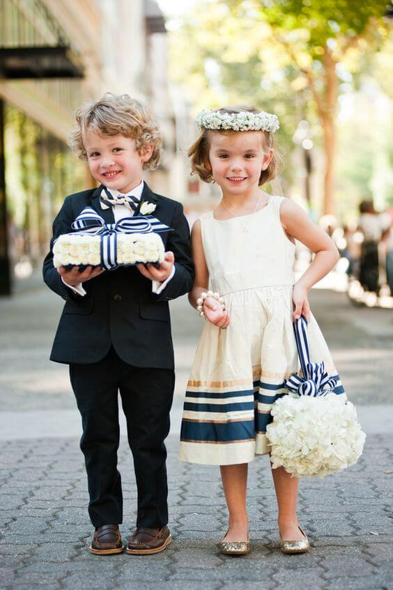Flower girl and ring bearer for Navy and Grey Fall wedding