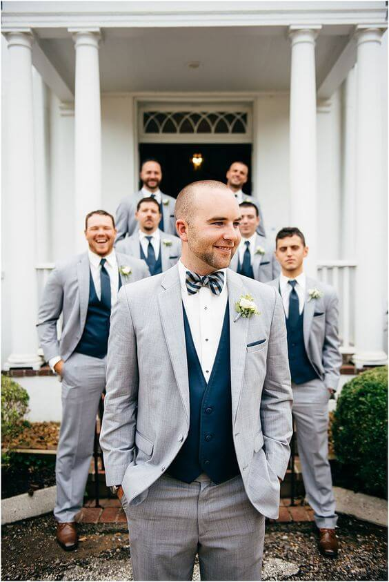 Groom and groomsmen for Navy and Grey Fall wedding