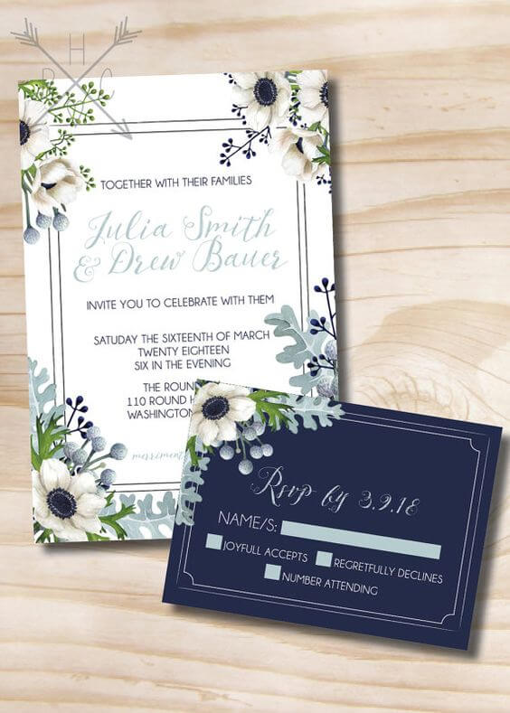 Wedding Invitations for Navy and Grey Fall wedding