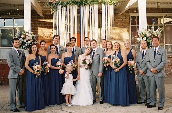 Wedding party for Navy and Grey Fall wedding
