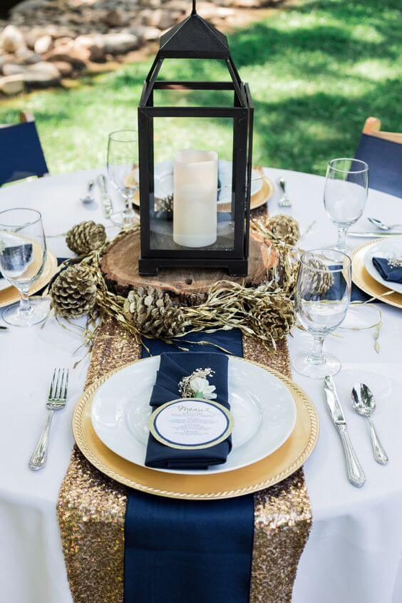 Wedding Table Decorations for Navy and Grey Fall wedding