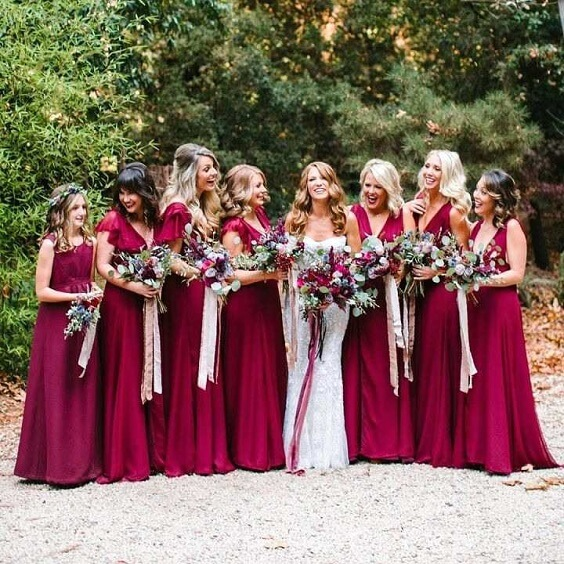 maroon bridesmaid dresses for fall maroon and navy blue wedding