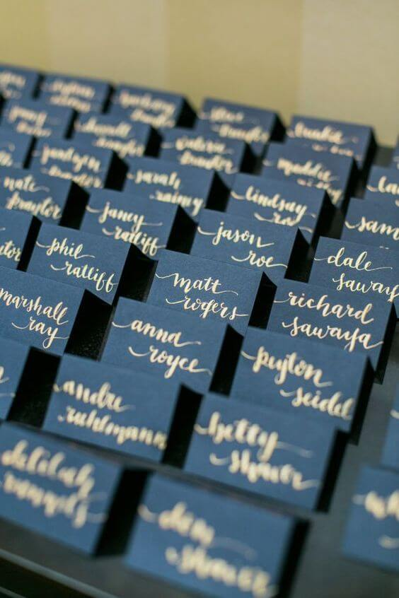 Place cards for Navy and Wine wedding