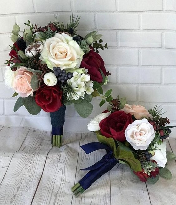 weddng bouquets for Navy and Wine wedding