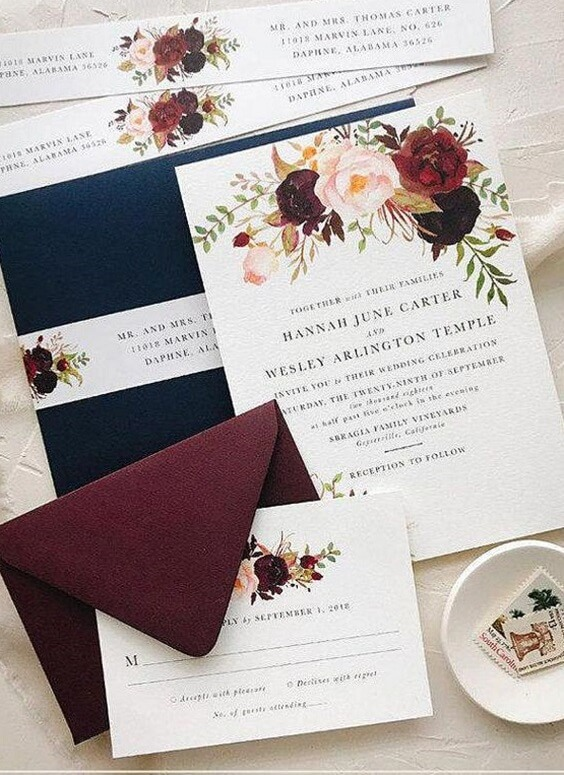 weddng Invitations for Navy and Wine wedding