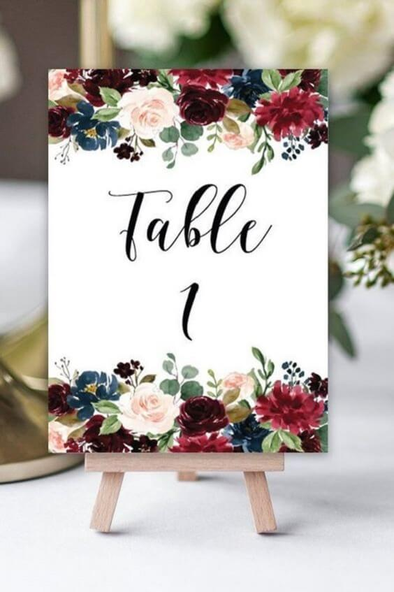 Wedding Table Numbers for Navy and Wine wedding