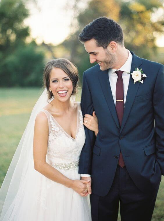 White bride and Navy groom for Navy and Wine wedding