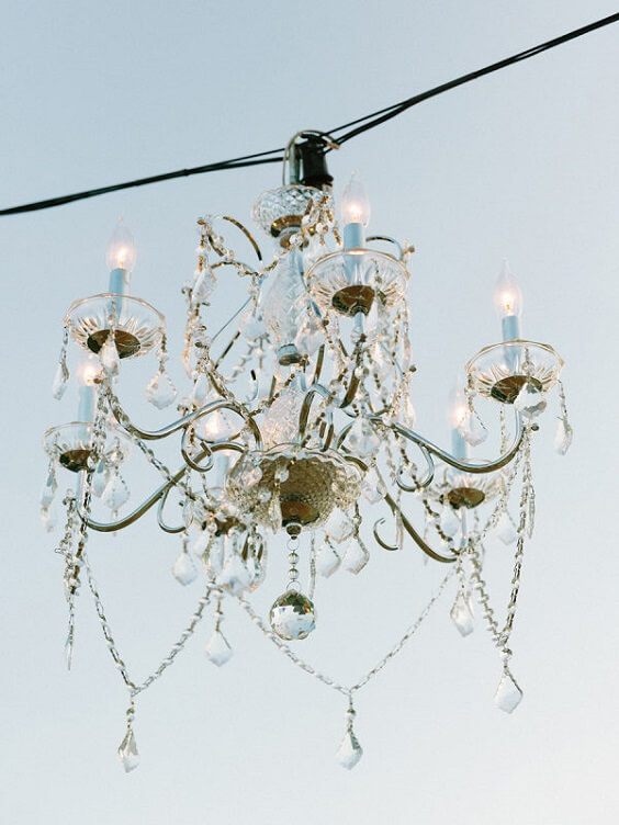 candle chandelier for spring ice blue wedding