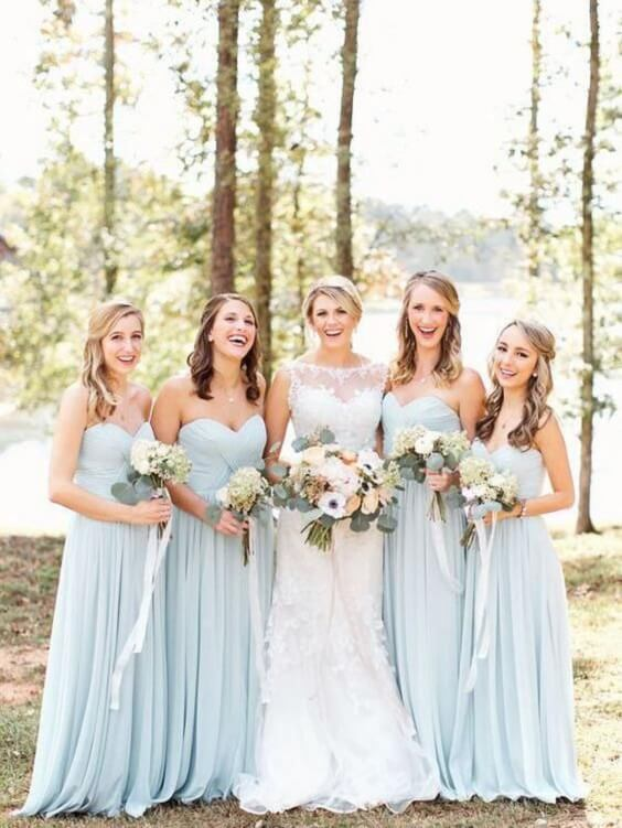 Spring Wedding Ice Blue Bridesmaid Dresses Light Pink Bouquets