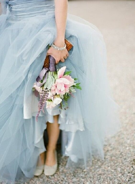 light pink bouquet for spring ice blue wedding