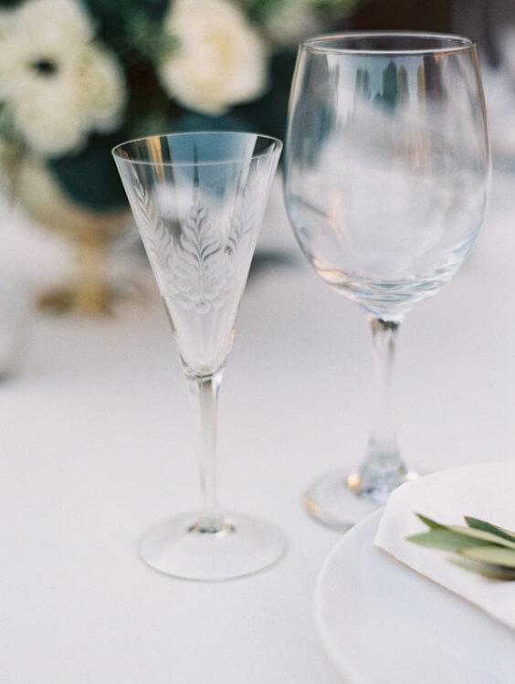 wine glasses for spring ice blue wedding