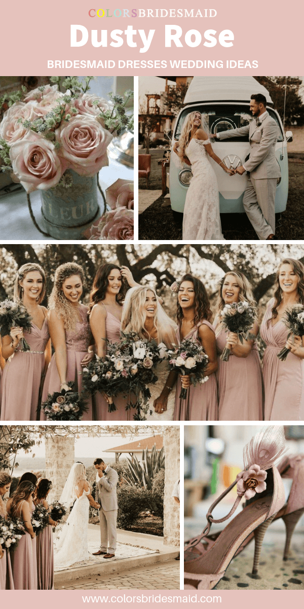 Fall Boho Chic Wedding - Dusty Rose Bridesmaid Dresses and Sage Green Bouquets