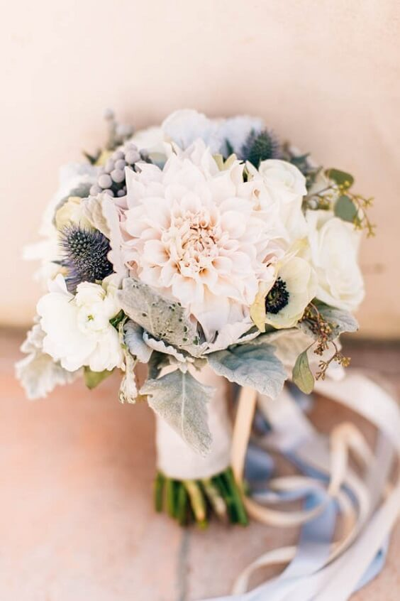 blush bouquets with dusty blue ribbon for spring dusty blue wedding