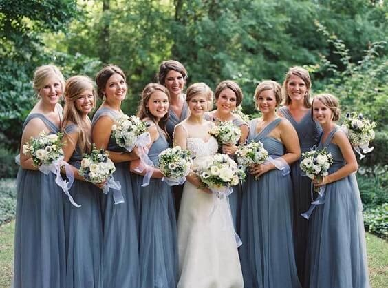 dusty blue bridesmaid dresses for spring dusty blue wedding