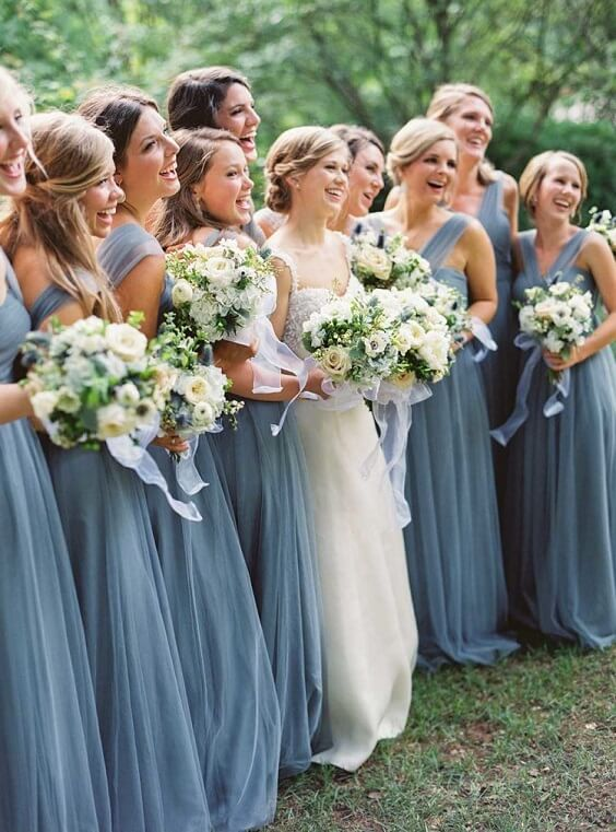 dusty blue bridesmaid dresses for spring dusty blue wedding 2