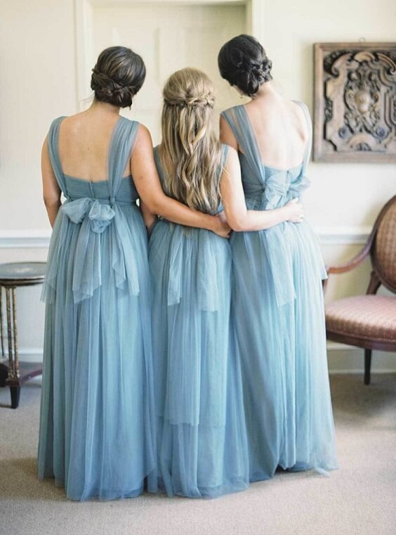 dusty blue bridesmaid dresses for spring dusty blue wedding 3