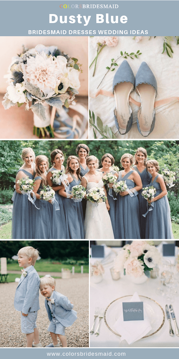 Spring Wedding - Dusty Blue Bridesmaid Dresses and Blush Bouquets with Blue Ribbons