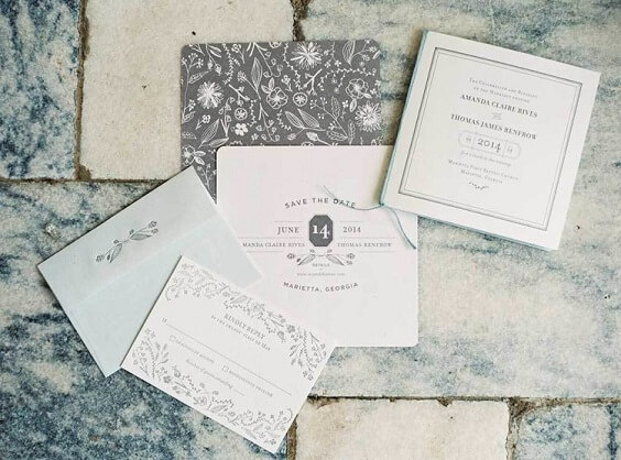 wedding invitations for spring dusty blue wedding