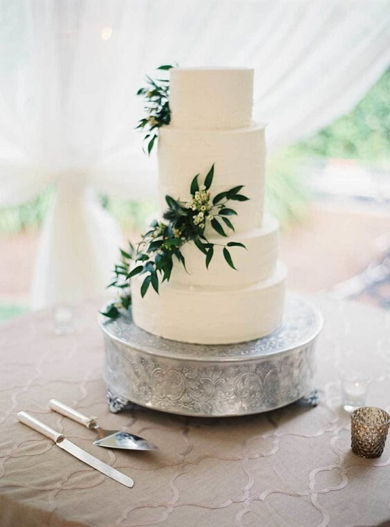 white wedding cake for spring dusty blue wedding