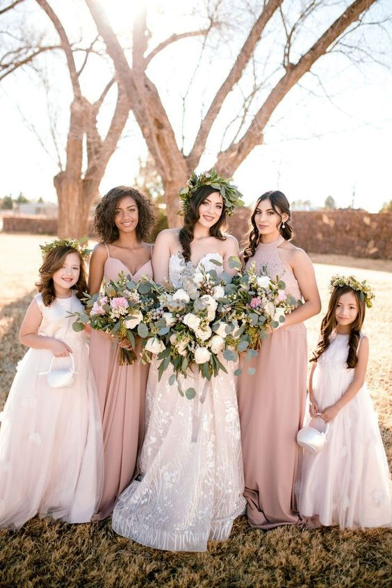 798eabfa82 dusty rose bridesmaid dresses and ivory bridal gown for fall dusty rose  wedding
