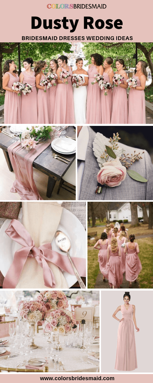 Fall Wedding - Dusty Rose Bridesmaid Dresses and Floral Decoration