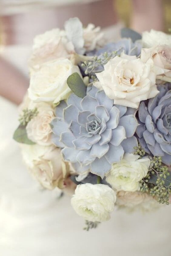 dusty blue and white bouquets for spring dusty blue wedding