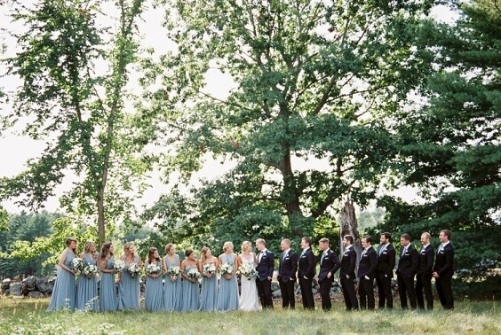 dusty blue bridesmaid dresses and navy mens suits for spring dusty blue wedding