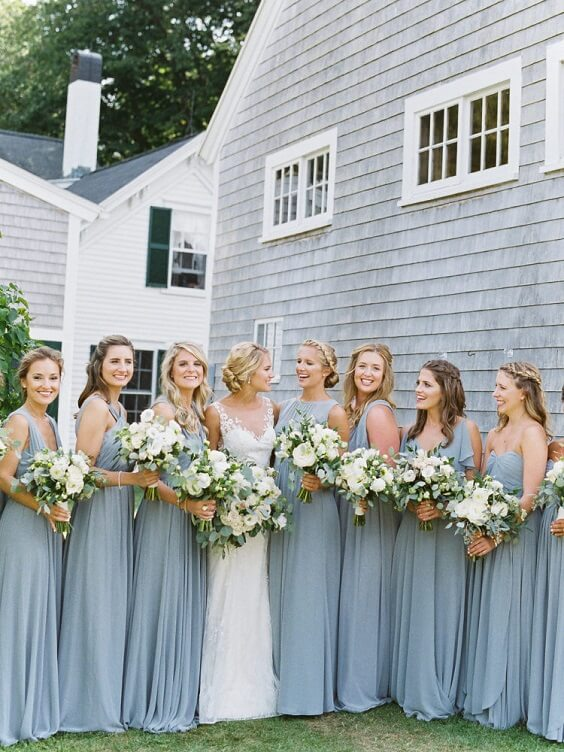 5ceb9f957ce7 Spring Wedding - Dusty Blue Bridesmaid Dresses, White Bouquets and ...