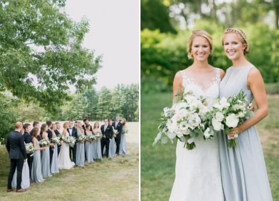 dusty blue maid of honor bridesmaid dresses for spring dusty blue wedding