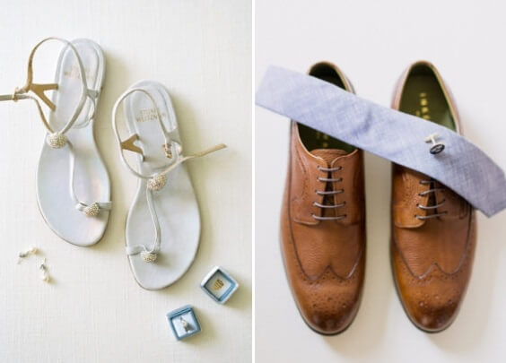 dusty blue tie paired with brown shoes and white slippers for spring dusty blue wedding