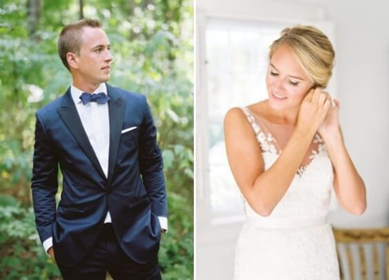 navy blue suits and white bridal gown for spring dusty blue wedding