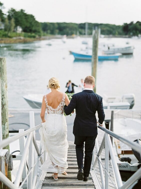 navy blue suits and white bridal gown for spring dusty blue wedding 2