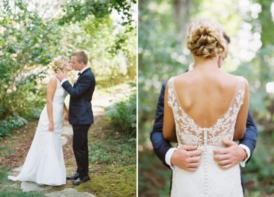 navy blue suits and white bridal gown for spring dusty blue wedding 3