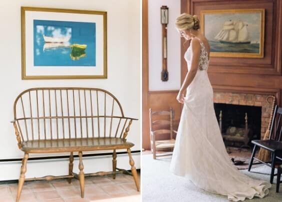 white bridal gown for spring dusty blue wedding