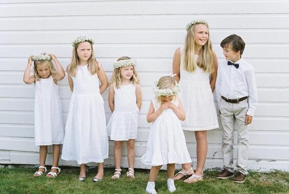 white flower girl dresses for spring dusty blue wedding