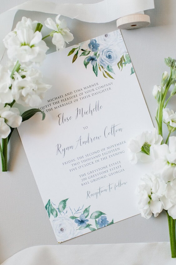 white invitations for spring dusty blue wedding