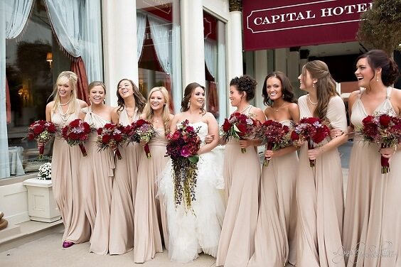 champagne bridesmaid dresses for fall champagne and burgundy wedding