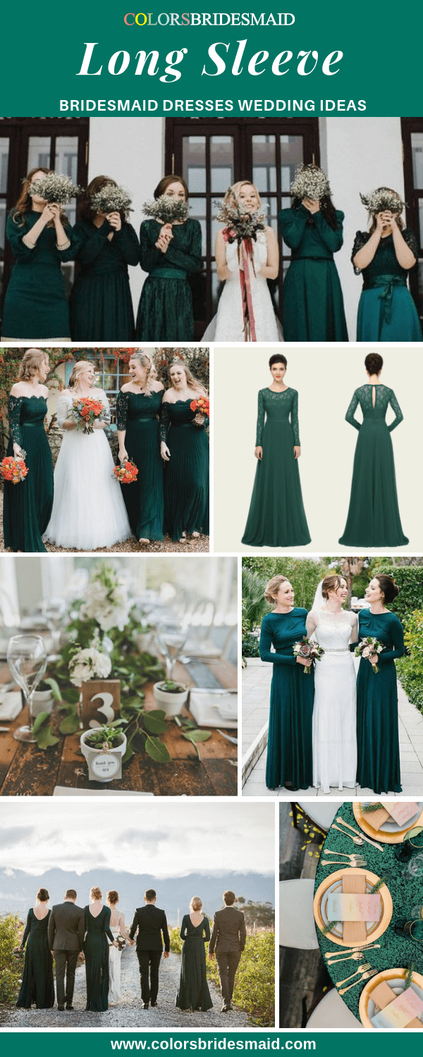 Winter Wedding - Green Long Sleeve Bridesmaid Dresses and Gold Decoration