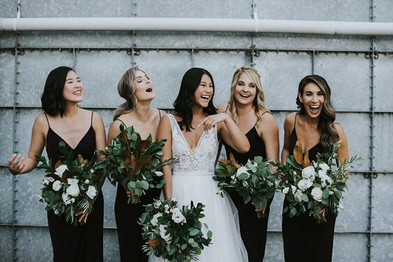 black bridesmaid dresses for black and green wedding 2019